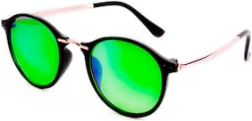 Thewhoop Stylish New Colorful Mirror Green Round Sunglasses For Men, Women, Boys, Girls