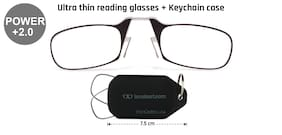 Thin Optics Black Full Rim Rectangle Medium With Keychain Reading Eyeglasses (Only For +2.00 Power )