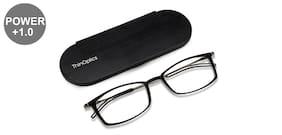 Thin Optics Black Rectangle Medium Brookyln Frontpage Reading Eyeglasses (Only For+1.00 Power)