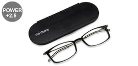 Thin Optics Black Rectangle Medium Brookyln Frontpage Reading Eyeglasses (Only For+2.50 Power)