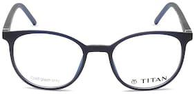 Titan Blue Round Full Rim Eyeglasses for Men - 1