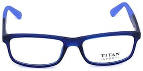 Titan Blue Square Full Rim Eyeglasses for Men