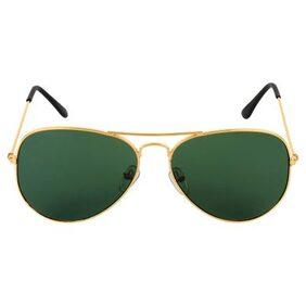 Tommy Fashion Gold & Green Aviator Sunglass (UV Protected) (Medium Size)