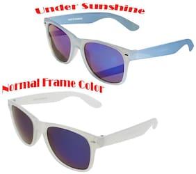 Vast Colour Changing (Frame) Mirror Unisex Wayfarer Sunglass (White-Blue)