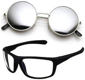 Men Round Frames Mirrored Lens;Anti Glare Lens