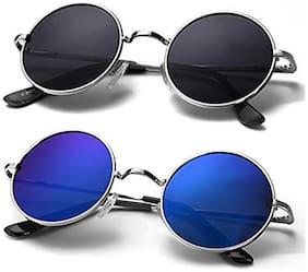Men Round Frames Mirrored Lens