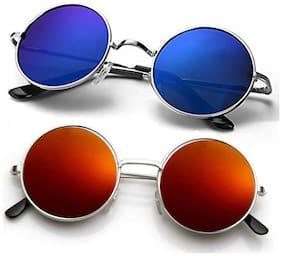 Vitoria Mirrored lens Round Frame Sunglasses for Men - 2