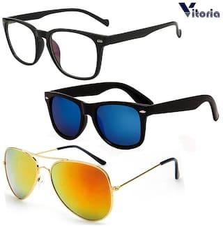 Vitoria Men Mirrored Black Aviators Sunglasses Large