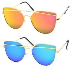 Xforia Multicolor Round Mafia Sunglasses (Yellow & Blue) For Men Pack of 2