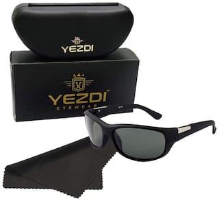 Yezdi Black Sports Wrap Around Sunglass with UV 400 Glass Lens