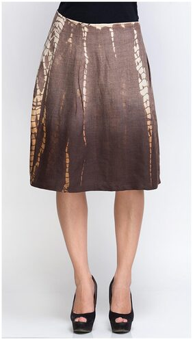 Oxolloxo Brown Polyester Dyed Skirt (Size-M)