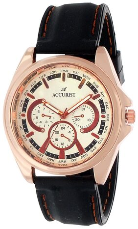 Accurist Copper Case White Dial Analog Watch With Black Strap