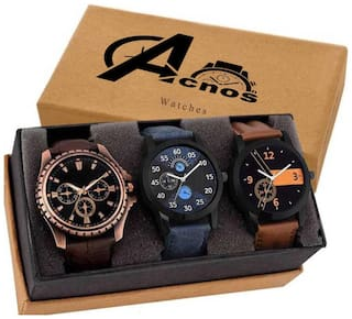 Acnos Designer Multicolour Dial And Leather Straps Analogue Fashionable Combo Watches For Man Pack of - 3 ( 1-2-Mino )