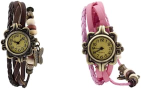 ACNOS MULTI COLORED LATEST LOWEST PRICE AND BEST QUALITY ANALOG WATCHES COMBO FOR PRETTY GIRLS & WOMENS PACK OF - 2 D_BROWN-LIGHT PINK