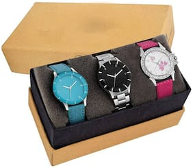 Acnos Special Super Quality Analog Watches Combo Look Like Preety For Girls And Womne Pack Of - 3(BLK-SKY-STLSLV)