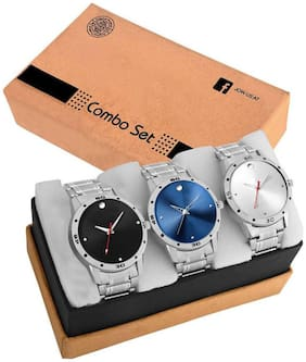 Acnos Special Super Quality Analog Watches Combo Look Like Handsome For Boys And Mens Pack Of - 3(STL-BLK-BLUE-SILVER)