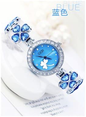 Addic Delicate Petals Blue Stone Studded Girls & Women's Watch