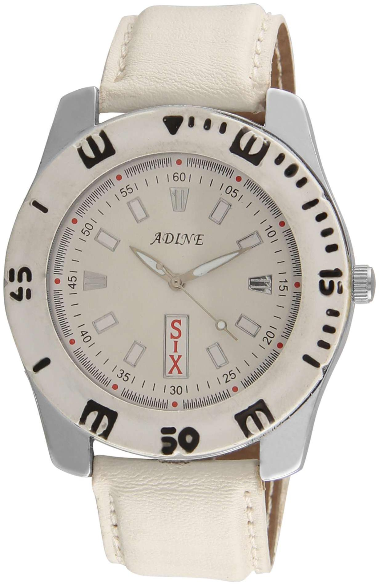 Adine White dial analog watch for men by R S