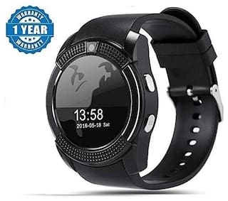 Adlyn V8 Bluetooth Smart Watch, Touchscreen Smart Wrist Watch Smartwatch Phone Fitness Tracker with SIM SD Card Camera Pedometer Compatible iOS iPhone Android for Men Women Boys Girls & Kids (Black)