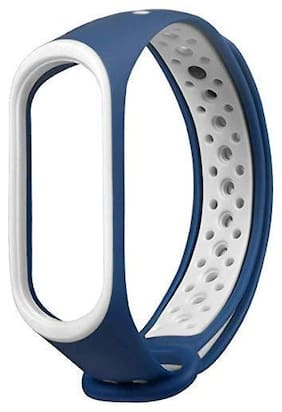 Adlynlife Mi Band 4 Replacement Sports Band Strap For Women and Men (Navy Blue)