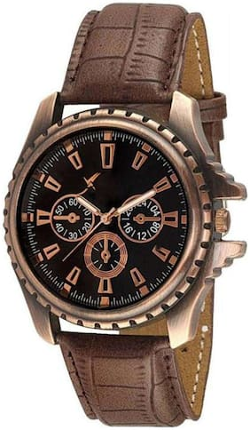 AJ Stylish Copper Dial Brown Leather Strap Analog For Man & Boys Watch - For Boys