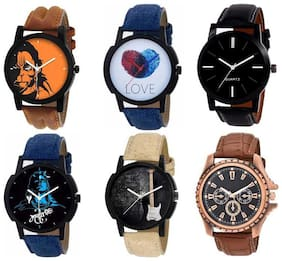 AJ Stylish New Fresh Arrival Combo OF 6 Watch For Men  & Boy