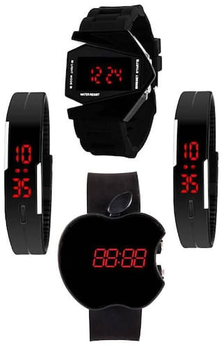AJ Stylish New Best Buy Rocket Black patti and Cut Apple Dial combo of 4 for men