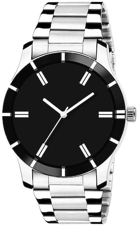 Ak Men_52 Black Cutglass Round Dial New Arrival Analog Watch For Men