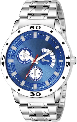 Ak Men_56 Blue Round Dial Silver Chain New Arrival Analog Watch For Mens