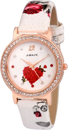 Amaze Analog White Patent Leather Strap Watch For Womens And Girl-CT99
