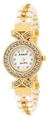Amaze Analog Golden Case White Peral Strap Women Watches