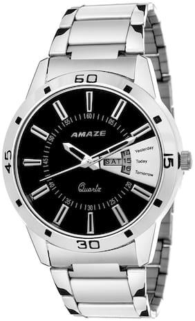 Amaze Men Fashion Day And Date Silver Chain Round watch-039