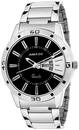 Amaze Men Fashion Day And Date Silver Chain Round watch-039