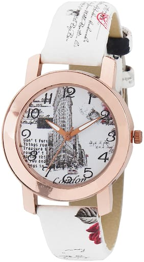 AMAZE Patent Leather White Strap Analog Girl & Women Fashion Watch-CT12