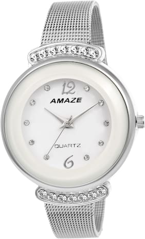 Amaze White Dial Daimond Case Shaper Chain Analog Watch Girls And Womens-CT81