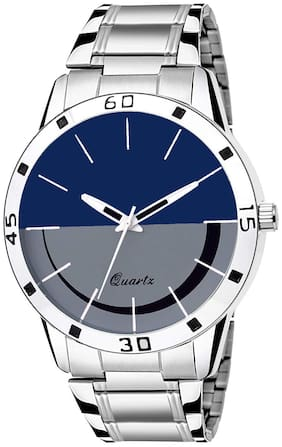 Amino Men-60 Smily Blue Silver Chain Round Dial Analog Watch