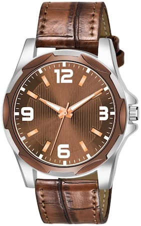 Amino Men-8132 Brown Leather Round Analog Watch