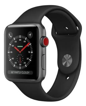 Apple Watch Series 3 GPS + Cellular;42mm Space Grey Aluminium Case with Black Sport Band