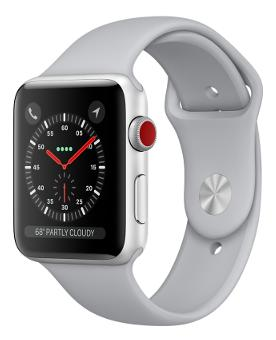 Apple Watch Series 3 GPS + Cellular;38mm Silver Aluminium Case with Fog Sport Band