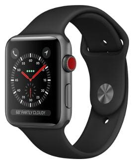 Apple Watch Series 3 GPS + Cellular;38mm Space Grey Aluminium Case with Black Sport Band