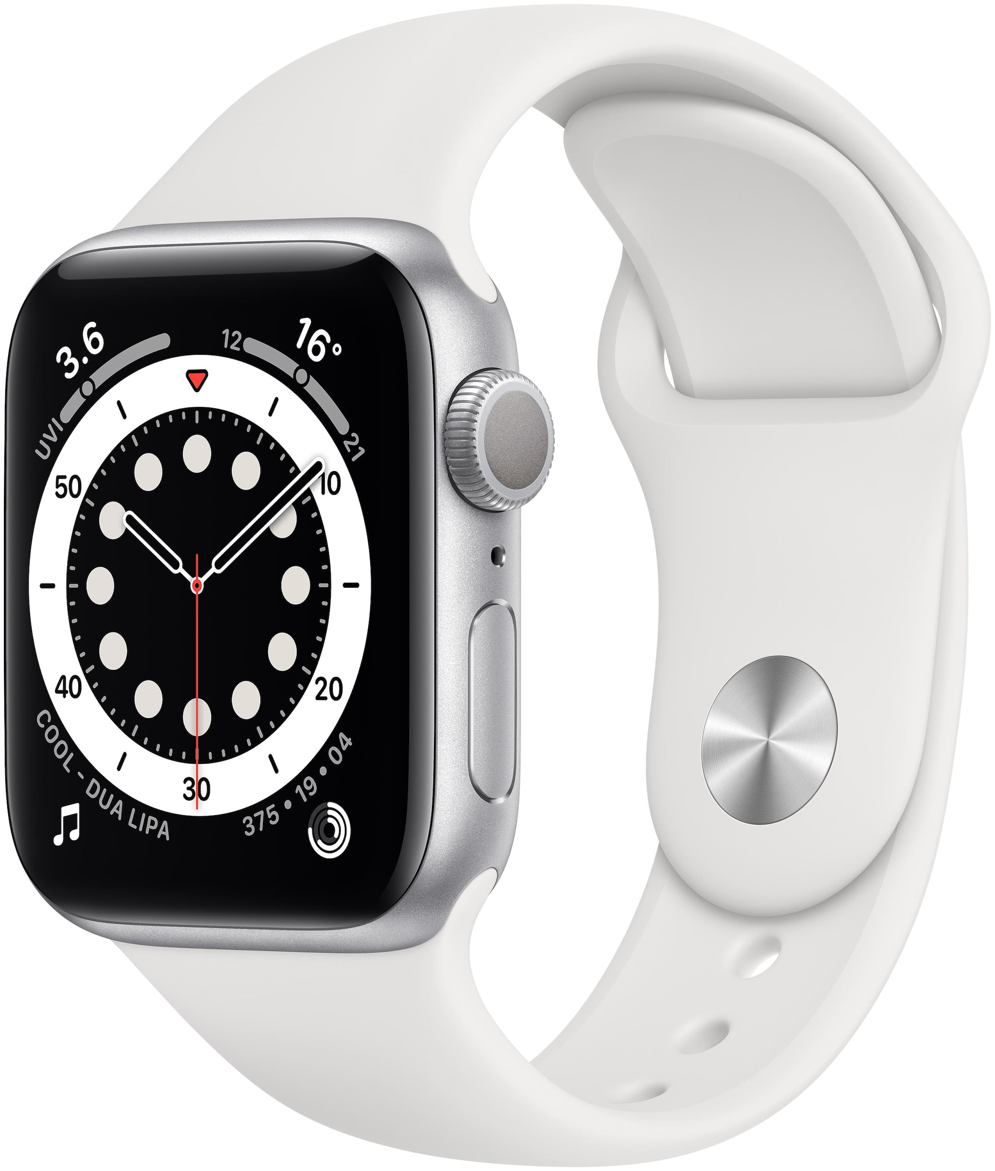 Apple Watch Series 6 GPS 40mm Silver Aluminium Case With White Sport...