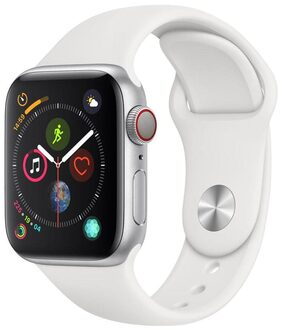 Apple Watch Series 4 GPS + Cellular  40mm Silver Aluminium Case with White Sport Band