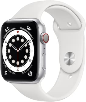 Apple Watch Series 6 GPS + Cellular 44mm Silver Aluminium Case With White Sport Band - Regular