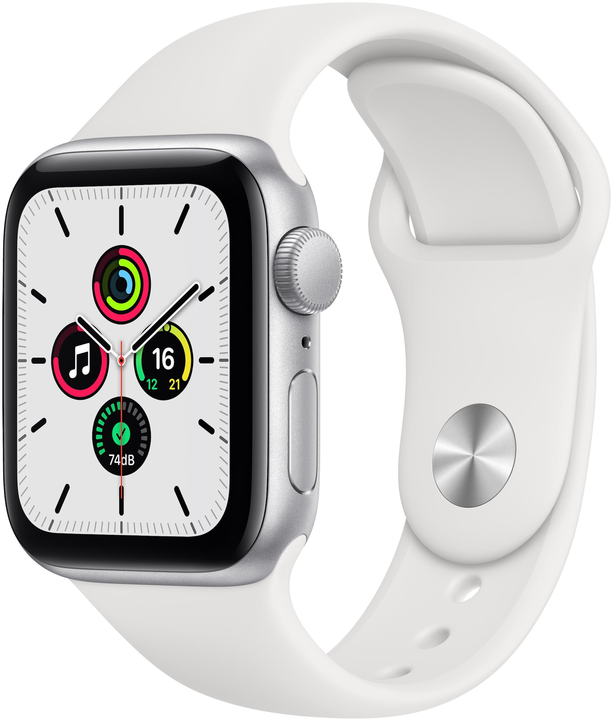 Apple Watch Se GPS 40mm Silver Aluminium Case With White Sport Band...