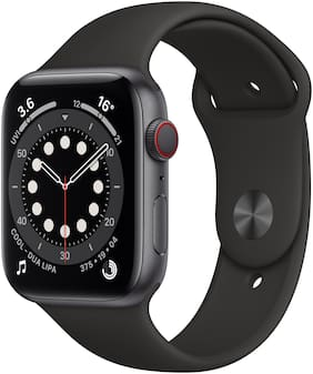 Apple Watch Series 6 GPS + Cellular 44mm Space Black Aluminium Case With Black Sport Band - Regular