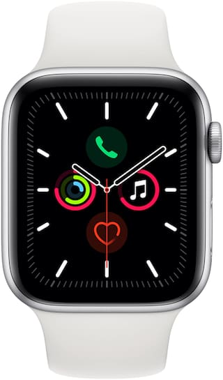 Apple Watch Series 5 GPS  Cellular 44mm Silver Aluminium Case with White Sport Band