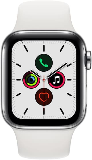 Apple Watch Series 5 GPS  Cellular 40mm Stainless Steel Case with White Sport Band