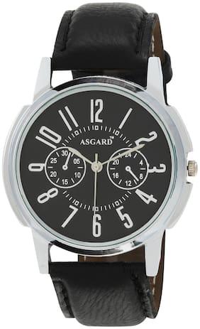 ASGARD Black Leather Analog Watch
