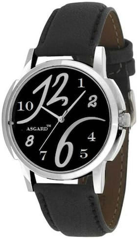 ASGARD Black Leather Analog Watch