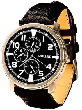 Asgard Black Leather Analogue Watch